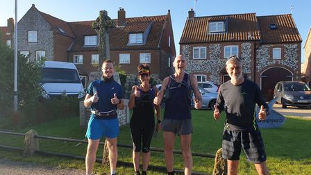 Mark Armstrong with Karen Grapes, Neil Featherby and Mark Thorpe at the start of day three of their