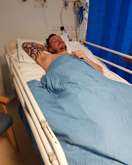 Alex in hospital - after he was diagnosed with Cauda Equina syndrome, a rare spinal disorder which o