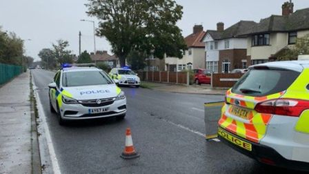 Police at the scene of the collision on Waveney Drive, Lowestoft. PHOTO: Lowestoft Police
