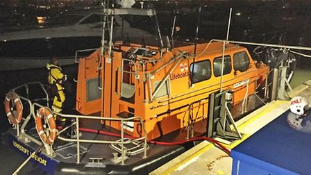The lifeboat which initially helped the two jet skiers on Wednesday. PHOTO: Mick Howles