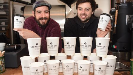 Owners Alex Sargeant, left, and Will Maddocks, of Strangers coffee roasters. Photo: Denise Bradley