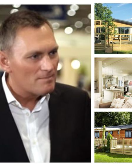 Dream Lodges boss Simon Moir with some of the holiday homes from the nine parks his company owned pr