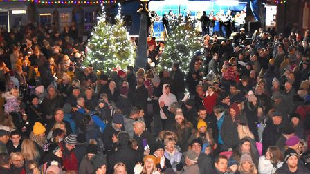 The crowds gather for a previous Southwold Christmas lights switch-on event. Picture: Mick Howes