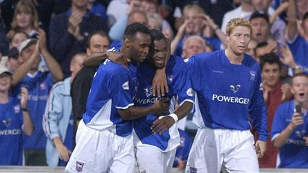 Town players celebrate after Darren Bent scores in a 2-1 success over Walsall on September 16, 2003.
