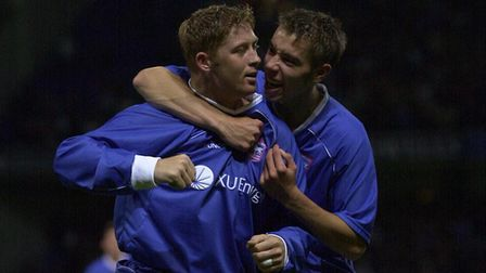 Alun Armstrong celebrates his equaliser with Darren Ambrose, during the UEFA Cup tie against FK Sart