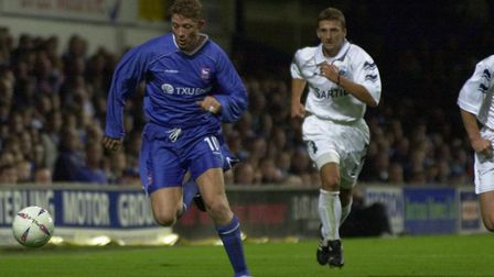 Alun Armstrong in action during Town's UEFA Cup tie against FK Sartid, from September 19, 2002
