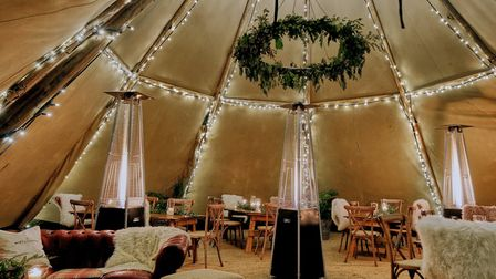 Inside the winter dining tipi at The Weeping Willow, Barrow near Bury St Edmunds Picture: Emma Cabi
