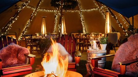 The winter dining tipi at The Weeping Willow in Barrow is kitted out with heaters and has five table
