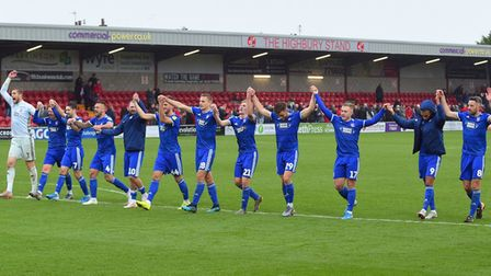 Thsi was Ipswich Town's more inclusive celebration gimmick at the start of last season. Photo: Pagep