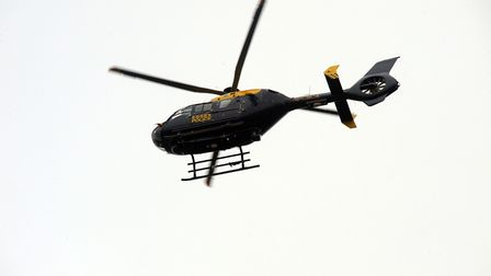 The Essex Police helicopter was seen hovering over parts of Colchester last night. Picture: ANDREW P