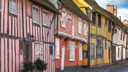 Half-timbered medieval cottages at Water Street, Lavenham, also in the Babergh district of Suffolk.