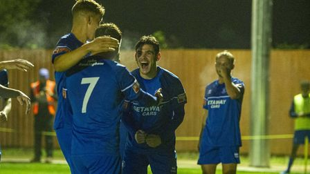 Bury Town celebrate Cemal Ramadan's goal, which put Bury 2-0 up on the half-hour mark against Witham
