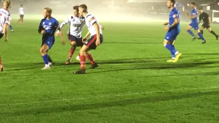 The fog is beginning to roll in during the first half at Ram Meadow. The referee controversially aba