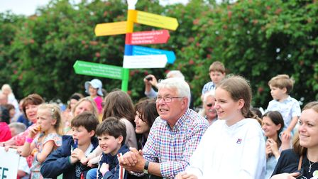 Rapt show-goers enjoying the mascot race at the Suffolk Show Picture: SARAH LUCY BROWN