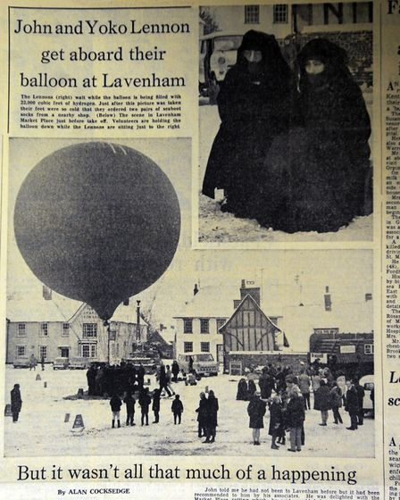 Page from the EADT marking John Lennon's visit to Lavenham Photo: Archant