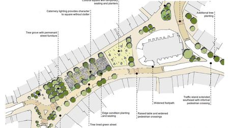 Plans for the pedestrianised Market Hill in Sudbury, Picture: BDC/SCC/WSP