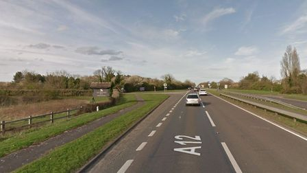 Three lorries have crashed on the A12 near Seckford Hall Hotel causing long delays. Picture: GOOGLE