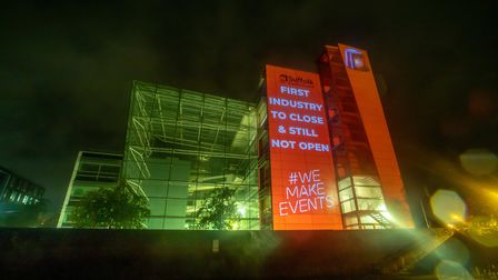 Messages calling for more support for the events industry appeared on buildings in Ipswich Picture:
