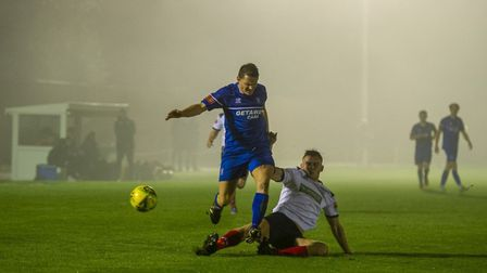 Bury Town striker Ollie Hughes, who scored the third goal in a 5-0 scoreline, before the match was a