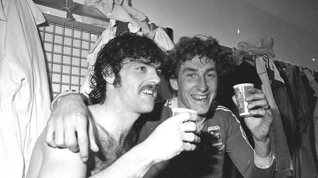 Terry Butcher, right, and John Wark in a celebratory mood. Wark scored four goals in Town's first le