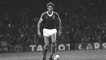 Terry Butcher on the ball during Ipswich Town's triumphant UEFA Cup winning campaign of 1980-81.