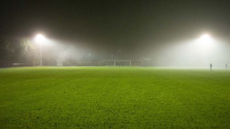 View from one end of the pitch to the other, shortly after the Bury v Witham match was abandoned du
