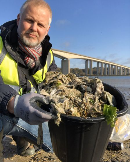 Jason after collecting a bucket full of wet wipes from under the Orwell Bridge Picture: JASON ALEXA