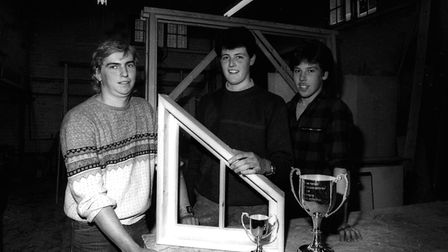 Carpentry apprentices in Woodbridge with their Suffolk Show award in June 1986 Picture: ARCHANT