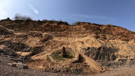 Bawdsey Cliffs in April, before much of the rock was eroded over the summer Picture: JACK TURNER