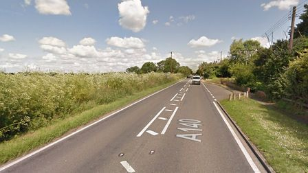 A car has ploughed into a ditch off the A140 at Thwaite Picture: GOOGLE MAPS