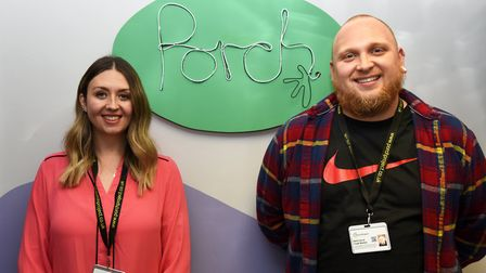 Porch Project's senior youth worker Kayleigh Diss and youth worker Zach Corrie are ready to show off