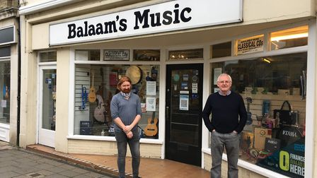 John Balaam (right), owner of Balaam's Music in Risbygate Street, Bury St Edmunds, with shop manager