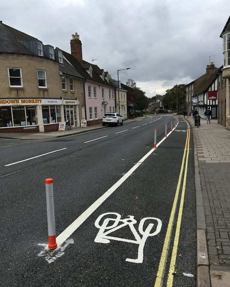 Businesses are disgruntled over the new Covid recovery cycle lane in Risbygate Street Picture: MARIA