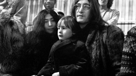John Lennon with his son Julian and Yoko Ono Picture: PA