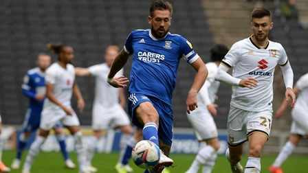 Luke Chambers brings the ball down during the first half at MK Dons. Picture Pagepix Ltd