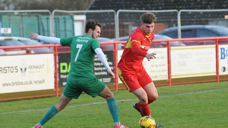 Jake Dye, who scored in Needham Market's 3-1 home win over Lowestoft Town in a league encounter this