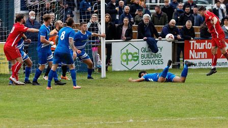 Steven Sheehan heads in the second Aveley goal during their 3-0 away win at Brantham Athletic in the