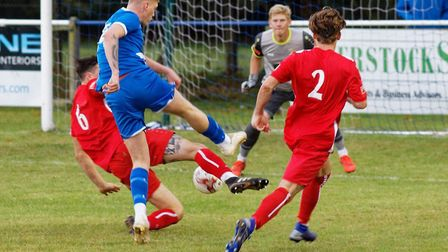 This effort by Brantham substitute James Lee just shaved the wrong side of the post, during the FA C