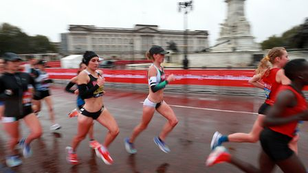 The elite women tackling a 19-lap course, including Great Britain's Lily Partridge (centre left), wh