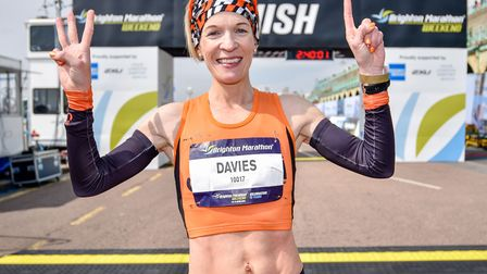A happier occasion: Helen Davies celebrating a hat-trick of wins at the Brighton Marathon, in 2019