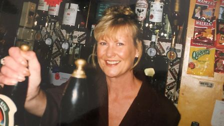Elly White working as the landlord of the Stowmarket Royal Oak in the 90s. Picture: STEF MARIE