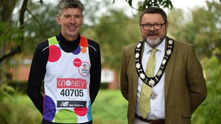 Stuart Service with the mayor of Hadleigh, Frank Minns Picture: CHARLOTTE BOND