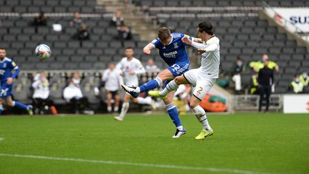 Old Hawkins shooting during the first half at MK Dons. Picture Pagepix Ltd