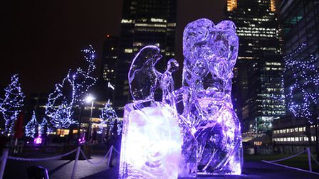 Ice Sculpture Festival at night.