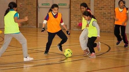 Girls making the most of football coaching at Whitechapel Sports Centre