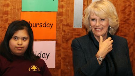 The Duchess of Cornwall visits a class for pupils with special educational needs at Mulberry School