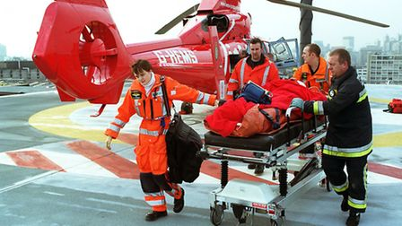 Trauma patient brought to Royal London Hospital by air ambulance