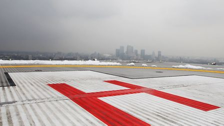 The helipad on top of the Royal London Hospital in Whitechapel.
