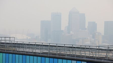 Canary Wharf seen from the top of the helipad at the Royal London Hospital, Whitechapel.