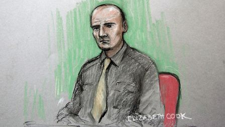 Court artist sketch by Elizabeth Cook of Tony McCluskie in the dock at the Old Bailey. Picture: Eliz